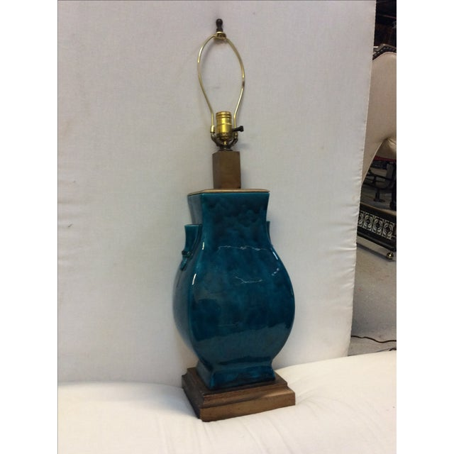 Turquoise Blue Asian Porcelain Lamp - Image 7 of 8