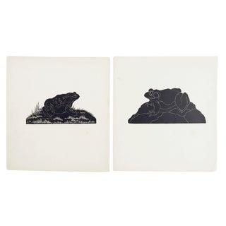 Frog & Toad Block Print Illustrations - A Pair