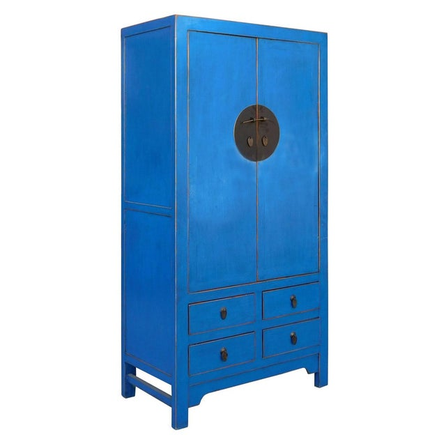 Tall Chinese Armorie in Rustic Blue - Image 3 of 6