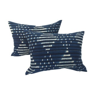 Striped Indigo African Pillows - Pair