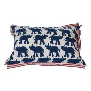 Blue Block Printed Elephant Pillow