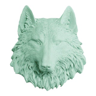 Wolf Mini Head Bust in Mint Turquoise Green by Wall Charmers