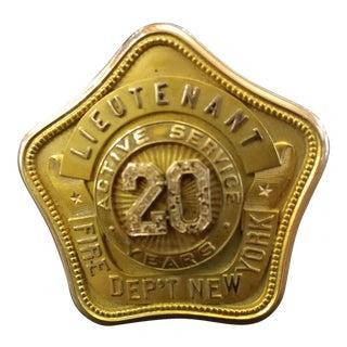 New York Fire Department 1918 Lieutenant Badge - 14K Gold