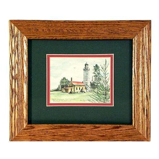 Framed Cana Island Lighthouse Watercolor Painting
