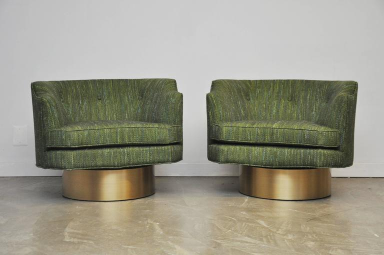 harvey probber swivel chairs on brushed brass bases image 6 of 6
