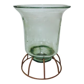 Glass Hurricane Lantern on Iron Stand