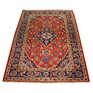 "Vintage Persian Kashan Area Rug - 3'5""x5'"