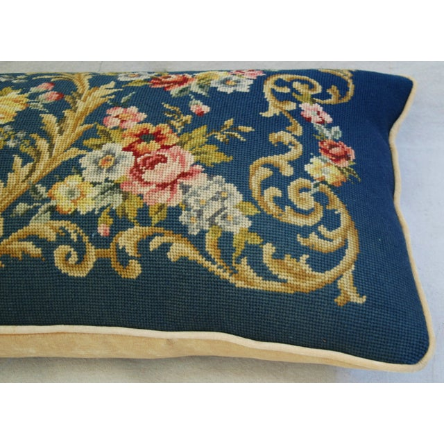 Custom 19th-C. French Needlepoint Floral Pillow - Image 7 of 11