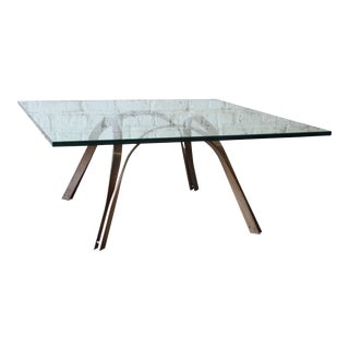 Roger Sprunger Style Mid-Century Brass and Glass Coffee Table