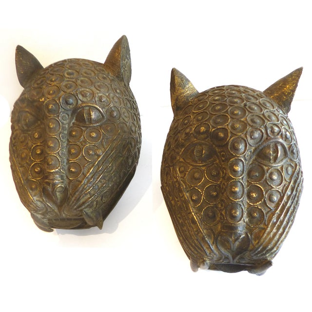 Bronze Leopard Heads From Cameroon - A Pair - Image 3 of 11