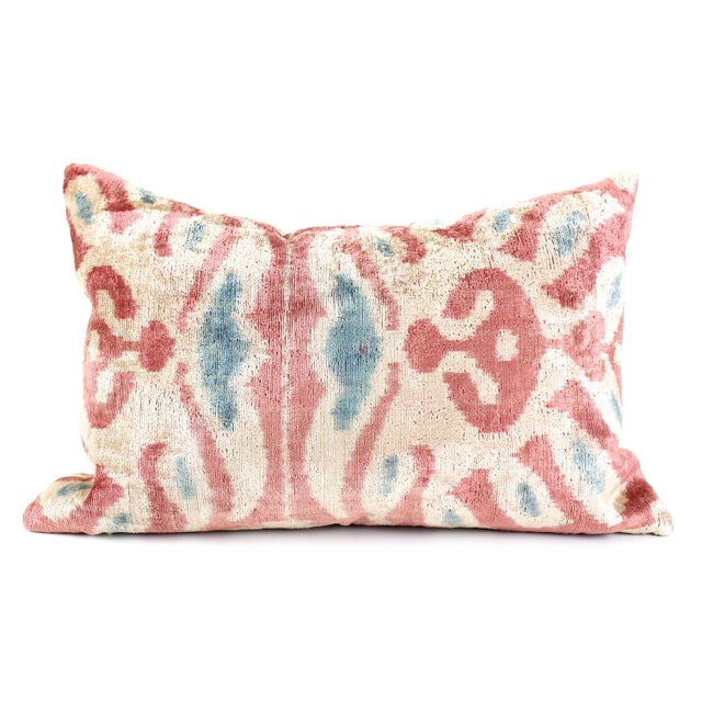 Pink Silk Ikat Velvet Pillow - Image 3 of 3