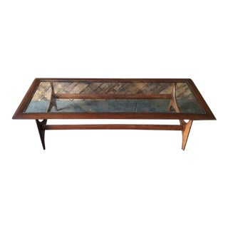 Refinished Mid Century Walnut Glass Coffee Table