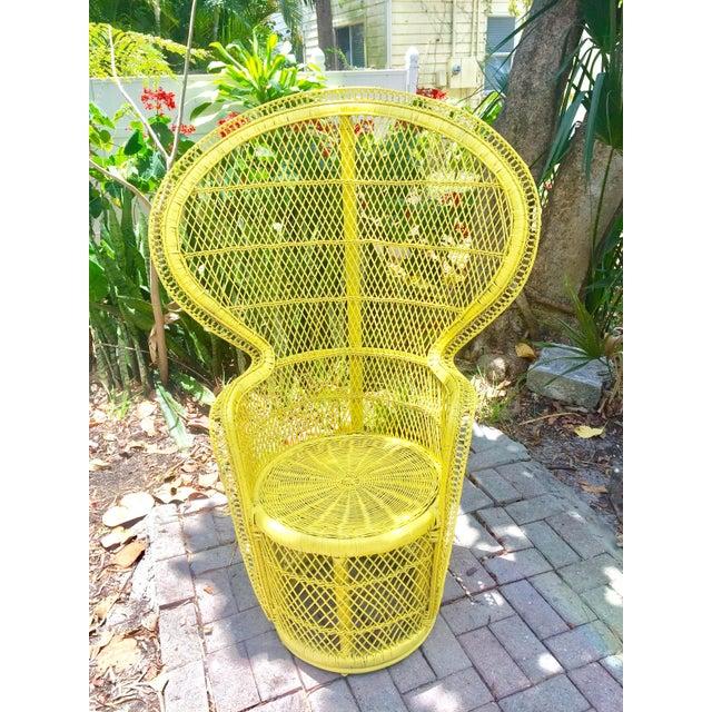Mid-Century Rattan Wicker Fan-Back Peacock Chair - Image 2 of 9