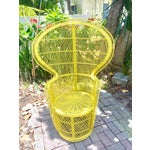 Image of Mid-Century Rattan Wicker Fan-Back Peacock Chair