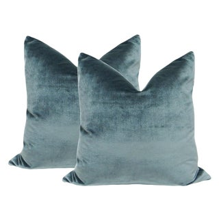 "22"" Italian Silk Velvet Pillows in Aegean - A Pair"