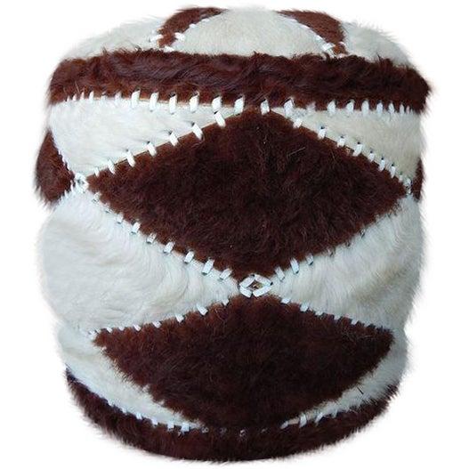 Hand-Sewn Animal Hide Ottoman Pouf - Image 1 of 4