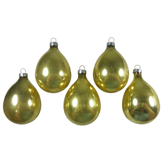 Gold Glass Drop Ornaments - Set of 5 - Image 1 of 3