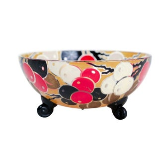 French Glass Bowl with Stylized Cherries