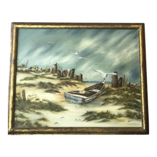 Vintage Oil Painting on Canvas of Dunes on the Cape, Signed