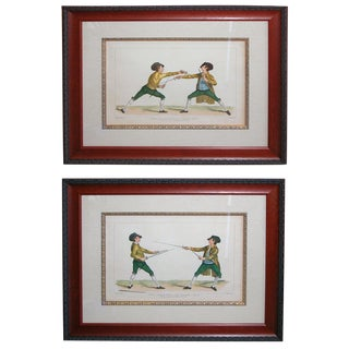 Pair of French Hand-Colored Copper Plate Fencing Engravings