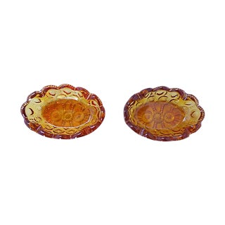 Amber Press Glass Ashtrays - Set of 2