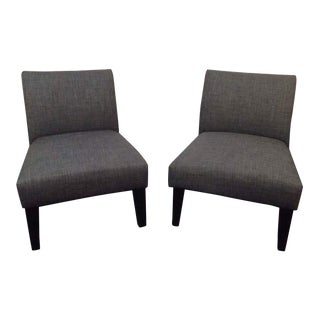 Gray Modern Upholstered Side Chairs - A Pair