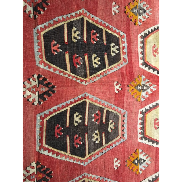 "Vintage Turkish Kilim Rug- 7'7"" x 11'7"" - Image 5 of 8"
