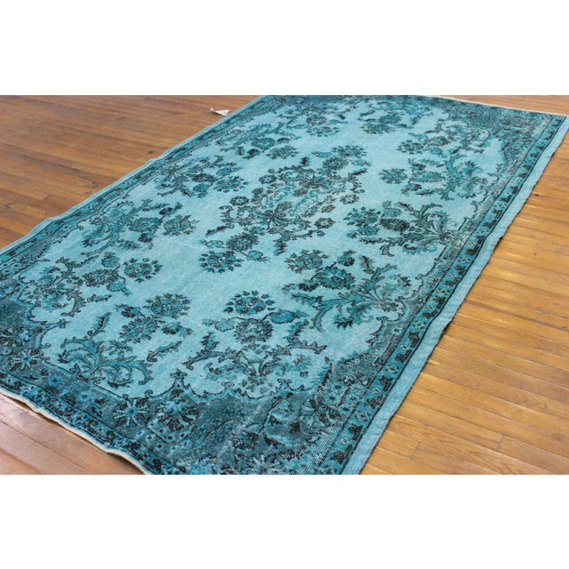 "Image of Aqua Over-Dyed Turkish Oushak Rug - 5'7"" x 9'1"""
