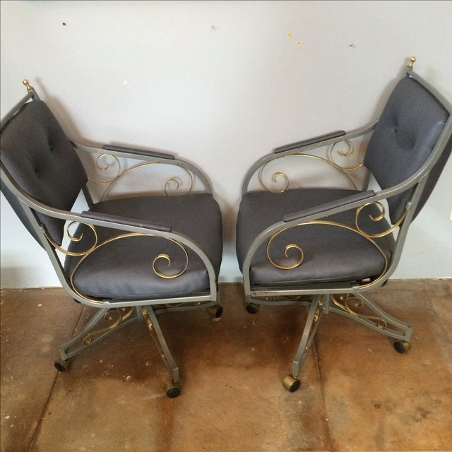 Hollywood Regency Office Chairs - A Pair - Image 4 of 9