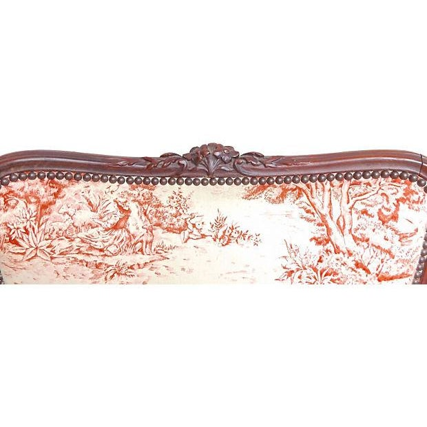 Image of Antique French Toile Fauteuil And Ottoman