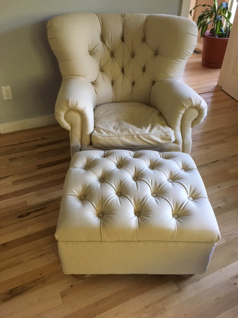Restoration Hardware Churchill Upholstered Chair And Ottoman   Image 2 Of 7