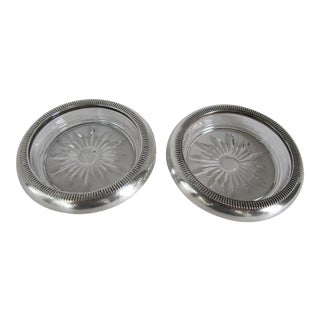 Vintage Crown Sterling Coasters - A Pair