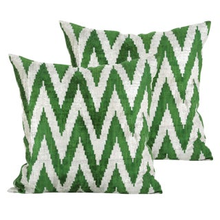 Green and Cream Chevron Silk Velvet Pillows - A Pair