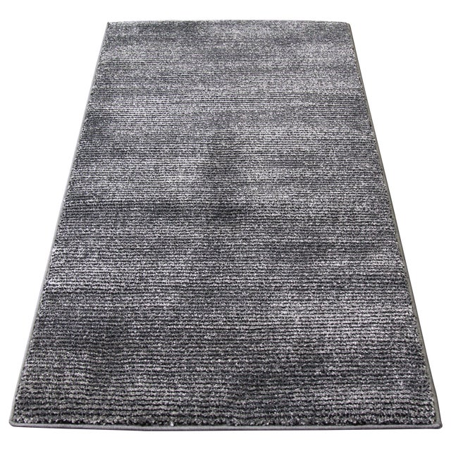 Black and Gray Striped Rug - 2′8″ × 5′ - Image 1 of 4