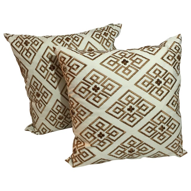 Custom Embroidered Brown Pillows - A Pair - Image 1 of 5