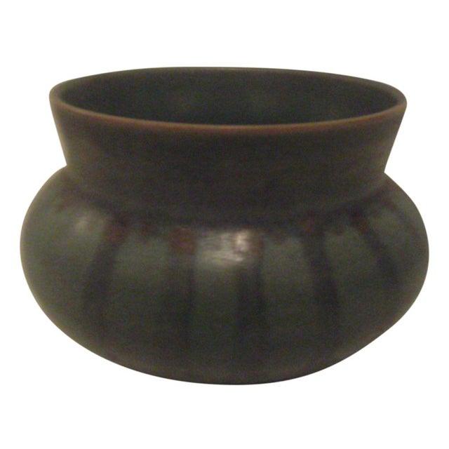 Green Striped Art Pottery Pot - Image 1 of 7