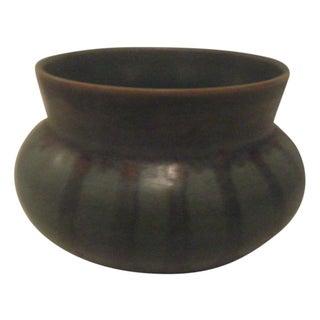 Green Striped Art Pottery Pot