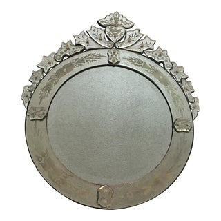Venetian Round Wall Mirror With Etched Glass