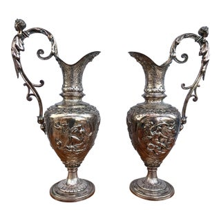 Figural 19th Century Ewers -17in Tall