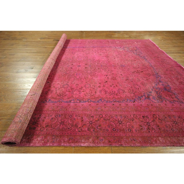 Pink Floral Overdyed Oriental Area Rug - 9' x 12' - Image 10 of 10