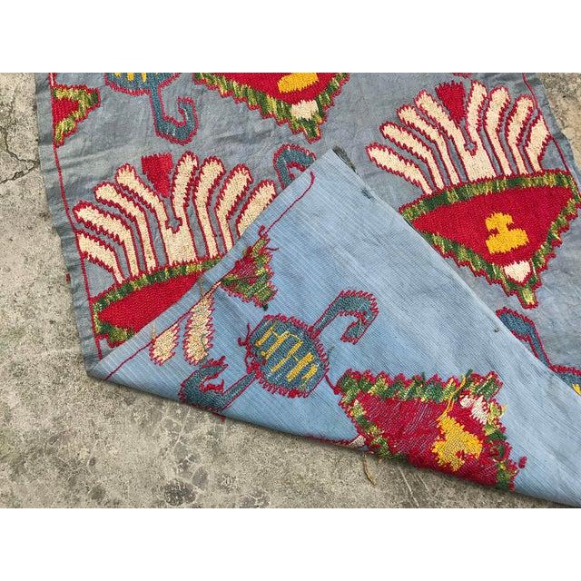 Silk Blue Suzani Table Runner - Image 6 of 6