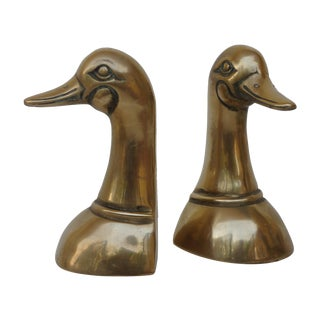 Vintage Brass Mallard Bookends - Pair