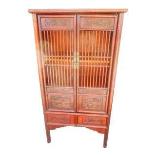 Vintage Chinese Distressed Linen Cabinet