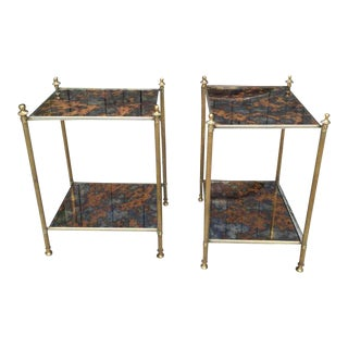 Pair of Bagues End Tables with Eglomise Mirrored Tops