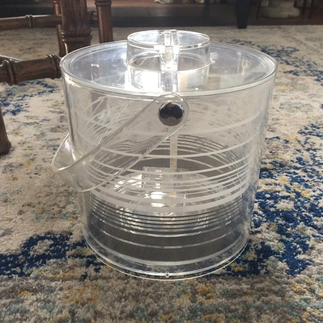 Image of Mid-Century Modern Retro Lucite Ice Bucket With Tongs