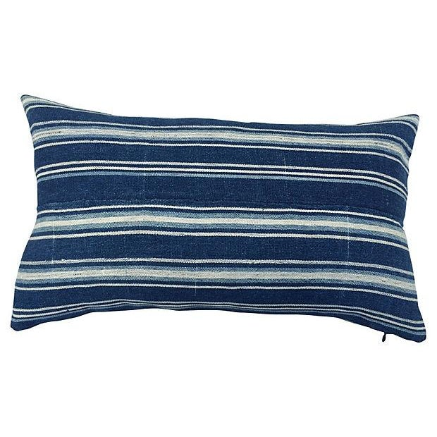 African Indigo Striped Pillows - a Pair - Image 3 of 5