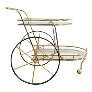 Mid-Century Modern Hollywood Regency Brass Bar Cart