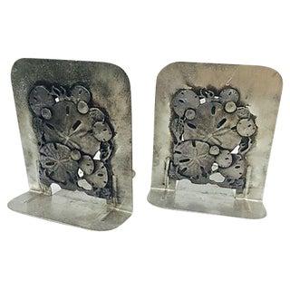 Metal Sand Dollar Bookends - A Pair