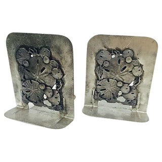 Metal Sand Dollar Bookends - A Pair