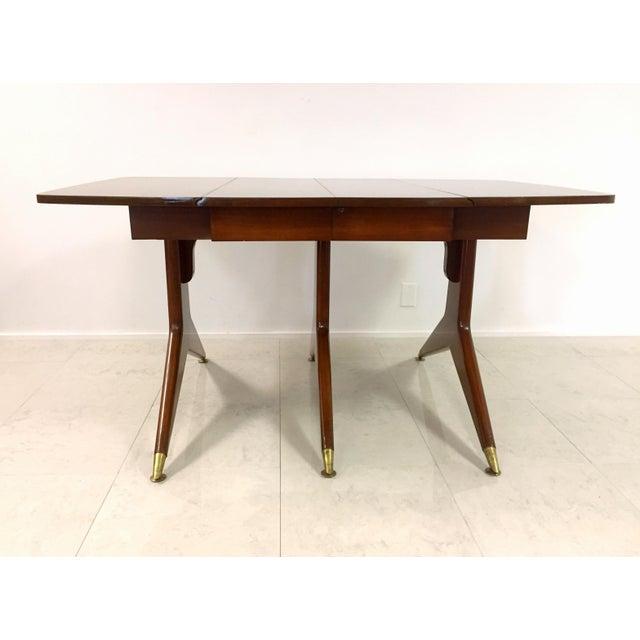 Gio Ponti Attr. Brass & Walnut Dining Table - Image 7 of 11